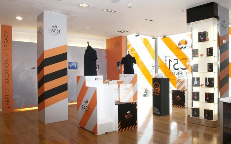 Ellesse and FAC51 retail installation, point of sale and packaging design for unique capsule collection at Harvey Nichols