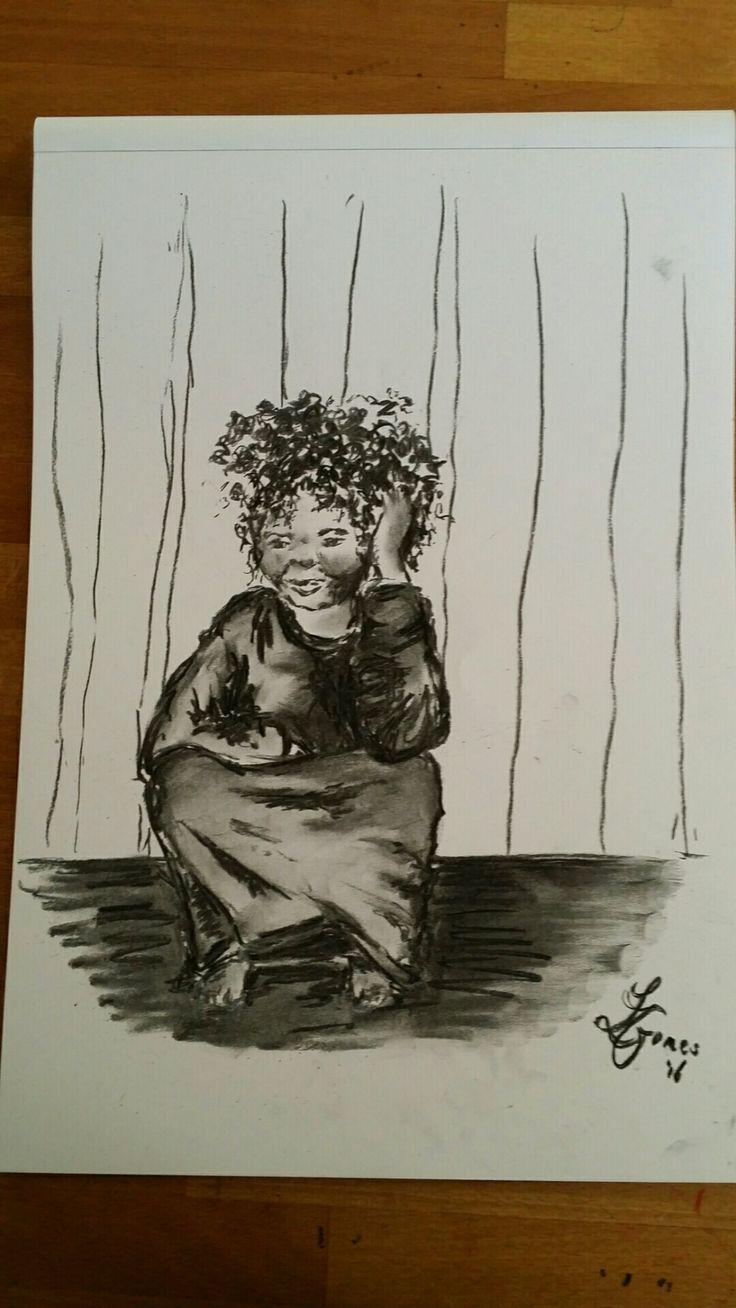 Little girl - charcoal / houtskool schets