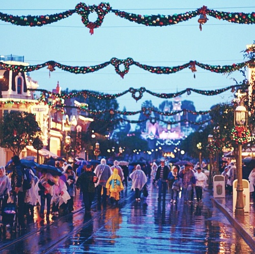 Christmas Decorations For Disneyland: Rainy Day At Disneyland. Christmas Decorations Are Up