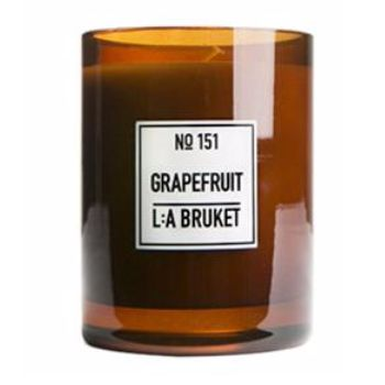 L:A Bruket  Large Grapefruit Scented Candle: The fragrance of L:Bruket's Grapefruit Candle is absolutely exquisite. Grapefruit refreshes the senses, boosts feelings of happiness and relaxation. Made from organic soy wax, hand poured into mouth blown glasses by skilled craftsmen.