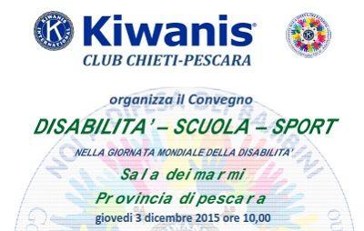 """""""Disabilità scuola - sport"""" il 3 dicembre convegno a Pescara"""