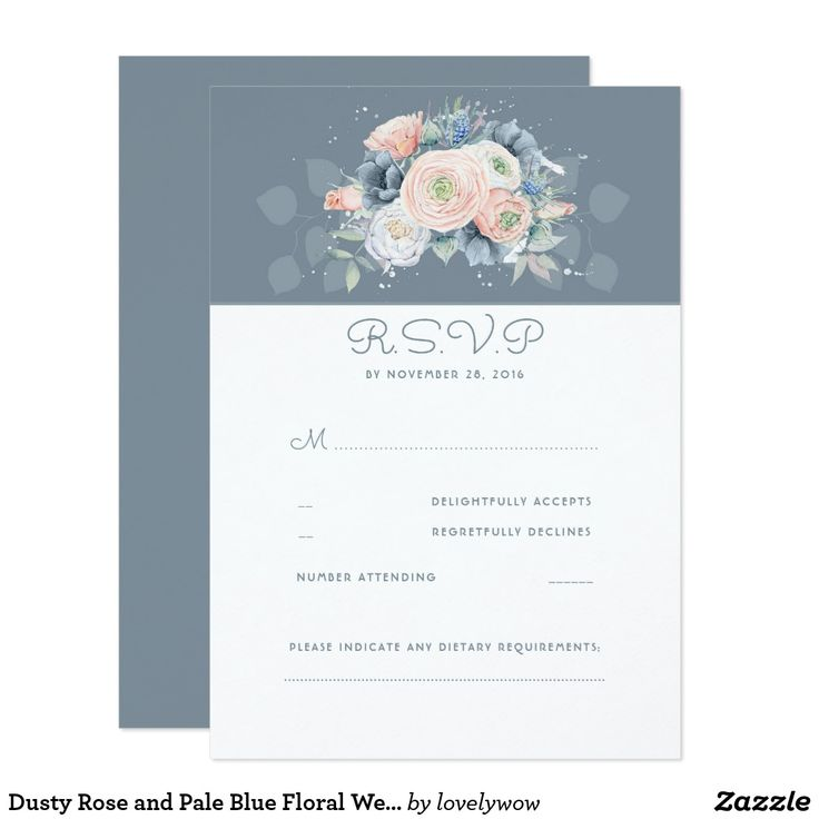 Dusty Rose and Pale Blue Floral Wedding RSVP Card Peach, rose quartz and dusty blue floral elegant wedding reply cards