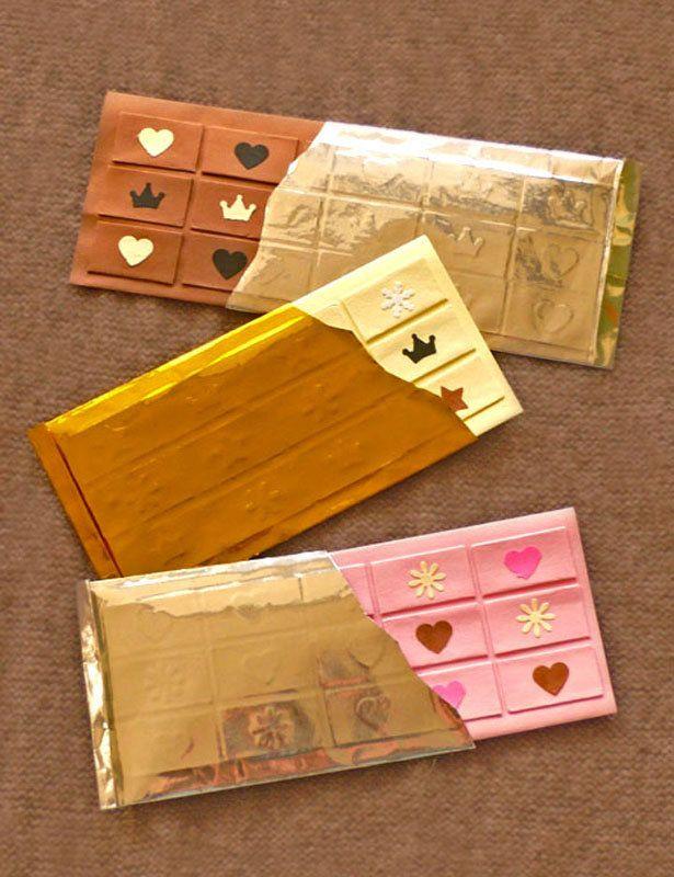 おとなのずがこうさく   バレンタインの板チョコカード