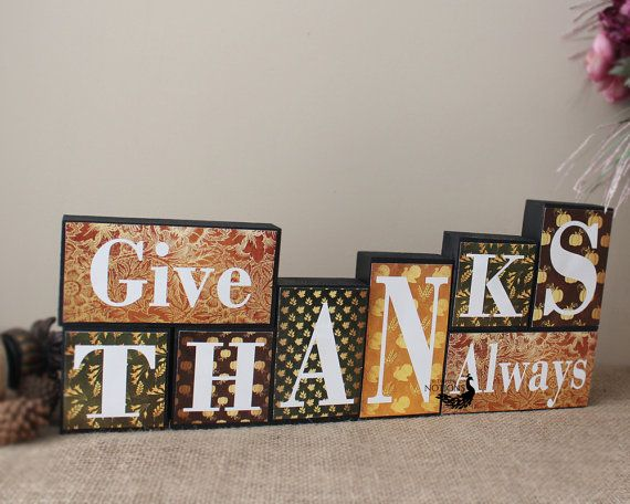 Happy Thanksgiving Blocks - Thanksgiving Decor - Give Thanks Always Blocks…