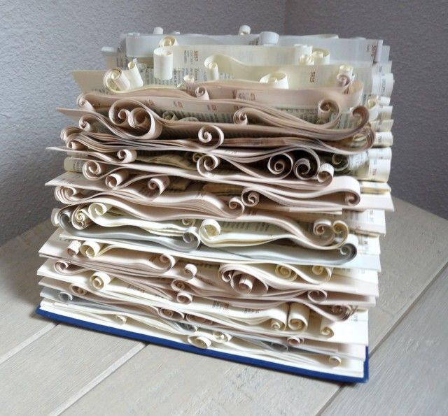 5 easy pieces recycled book art - Book Pages Art