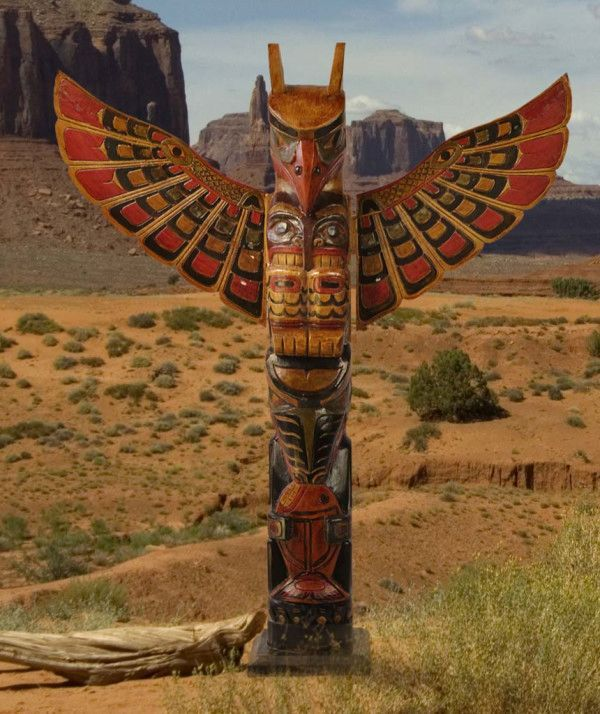 American Indian Wooden Tribal Totem Pole - 100cm | Fair Trade Gift Store | Siiren