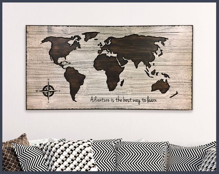 Map Wall Decor, Home Wall Decor, Wood Wall Art, Wooden Map, World Map Wall Art, Adventure quote, custom quote sign, Push Pin Map, Office Art by HowdyOwl on Etsy