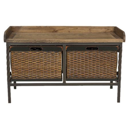 Stow shoes or light blankets in this rustic storage bench, showcasing 2 wicker drawers and a natural wood top.       Product: Stora...