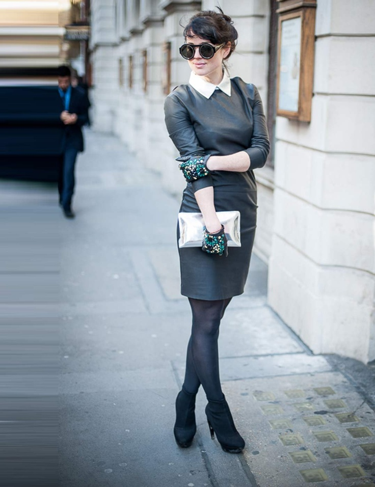 Alannah Sparks, ELLE Acting Fashion Editor. Acne silver collar leather dress at Harvey Nichols, Peridot London sunglasses, H embellished leather gloves, Robert Clergerie metallic clutch, Jil Sander boots.