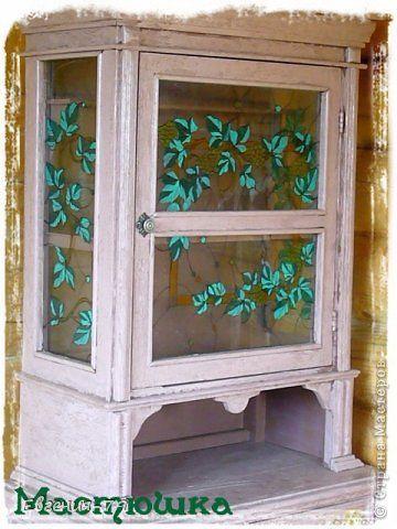 Декор предметов Декупаж Кракелюр Кухонный буфет на дачу Дерево Стекло фото 2