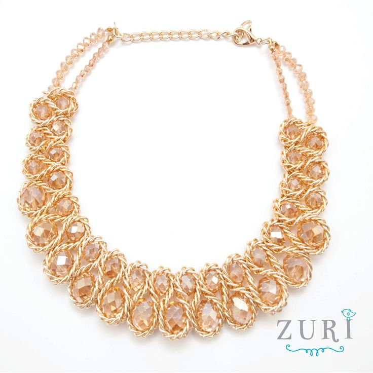 Woven Gold Stone Necklace R280