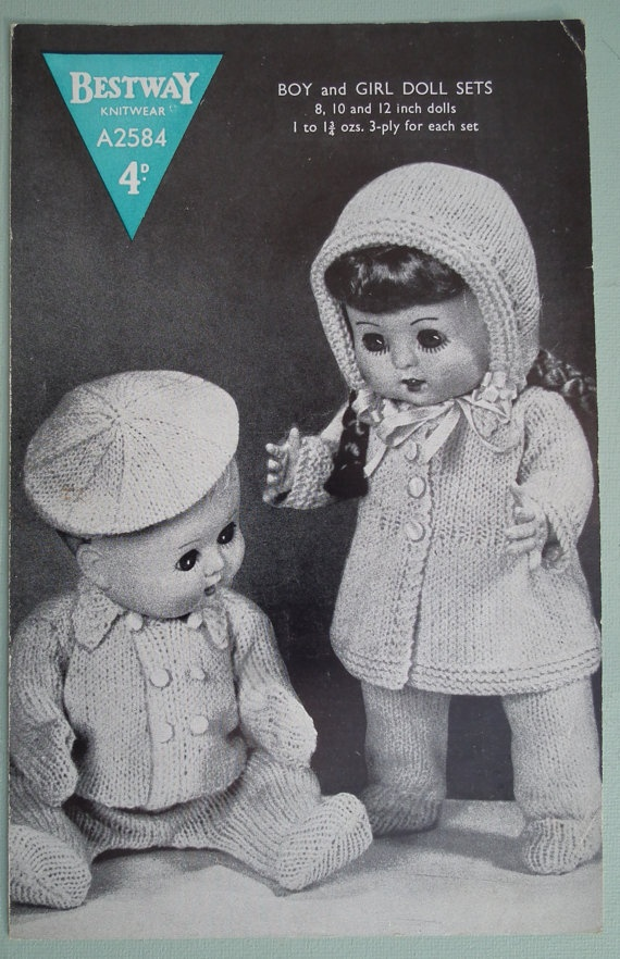 Vintage 1940s 1950s Knitting Pattern Boy And Girl Dolls