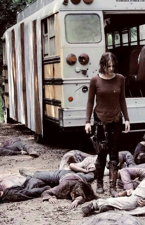 MAGGIE HAPPILY DISCOVERS THAT GLENN WASN'T ON THE BUS SHE LEFT HIM ON & GOOD THING BECAUSE THE VIRUS WENT THROUGH THERE LIKE WILD FIRE & TURNED THEM ALL INTO WALKERS.