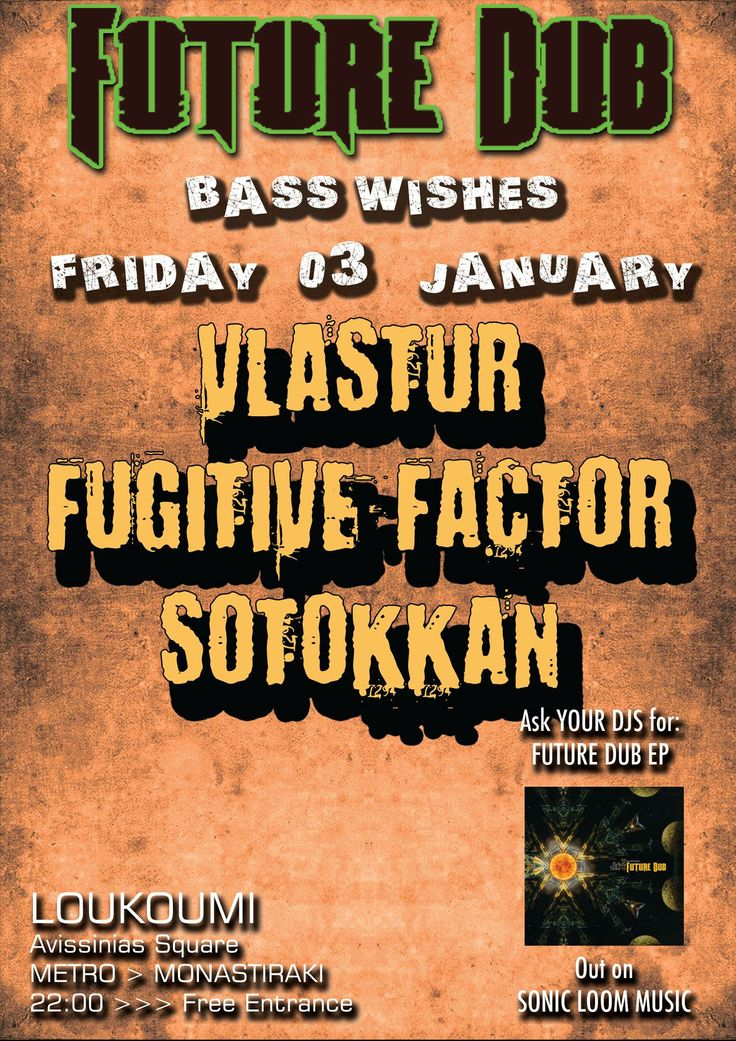 FUTURE DUB will open your new year smoothly (!) as always, -all night long- full of bass music.. with two finest producers, members of the Vlastur band, and residents at the Future Dub Events.. VLASTUR himself, and FUGITIVE FACTOR..