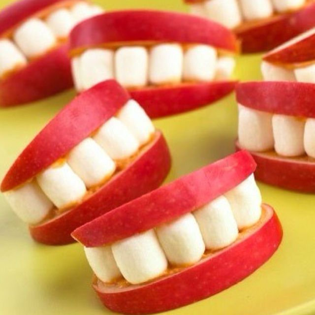 Healthy teeth snacks. Apples, peanut butter, and marshmallows.