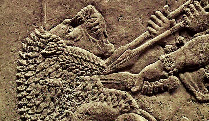 Frieze of Assurbanipal (668-627 BCE) hunting lions, detail. In ancient Assyria, lion-hunting was considered the sport of kings; a symbol of the king's ability to guard the nation. Numerous friezes from the North Palace of Ashurbanipal (in Nineveh) have been found, depicting the king hunting and killing lions. The hunting scenes, full of tension and realism, rank among the finest achievements of Assyrian Art.