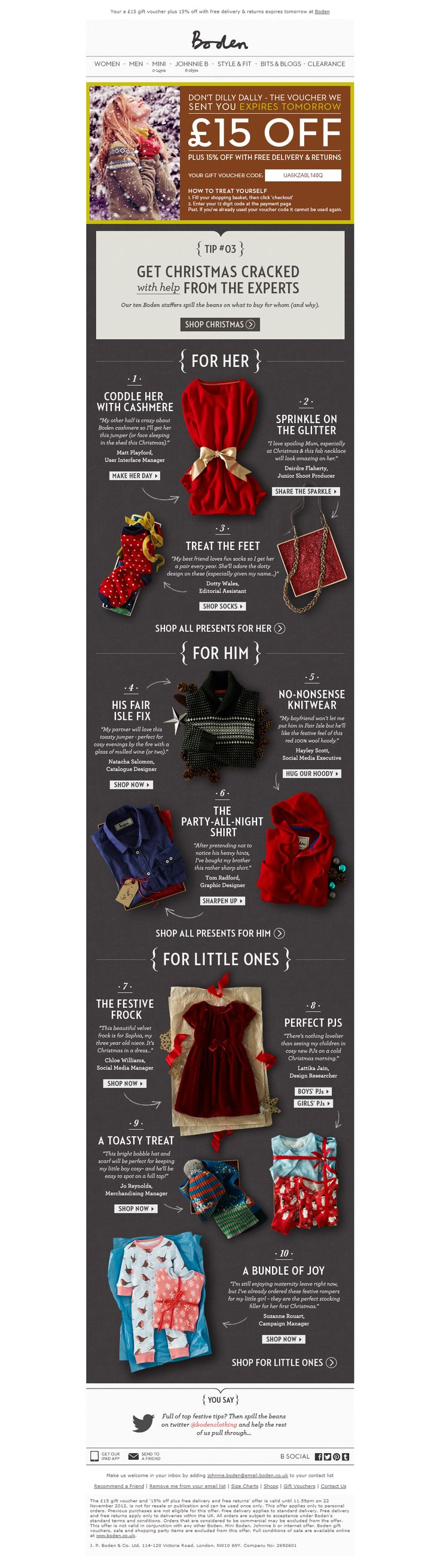 Tips throught out the holiday season. Broken down categories. Email design