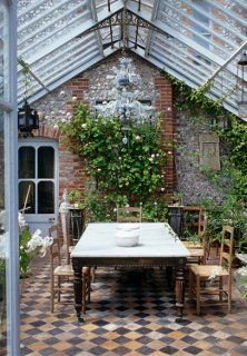 These patterned floors are everything! Greenhouse Dining Room