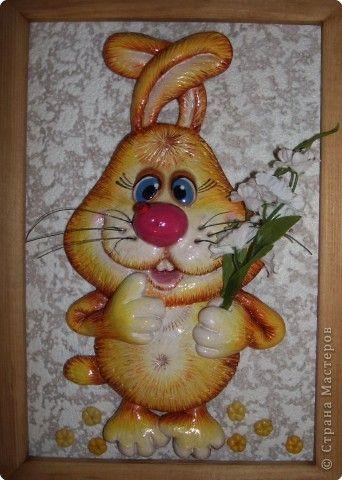 Картина панно рисунок Лепка Просто зверюшки Тесто соленое фото 2