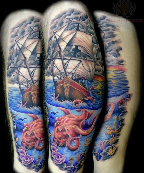 Pirate Ship Tattoo Sleeve | Octopus And Color Ink Pirate Ship Tattoo