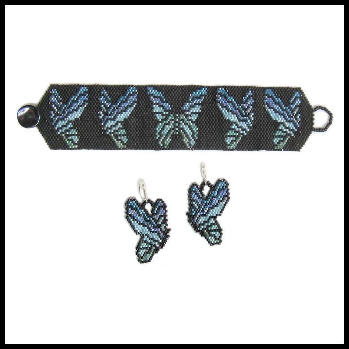 Elegant Peacock Butterflies Bracelet & Earrings | Bead-Patterns
