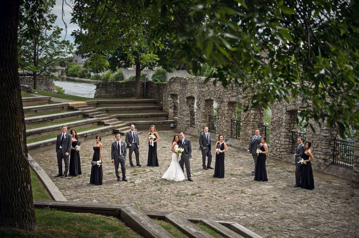 Cambridge Mill Wedding with Bridal Party Group photos at Mill Race Park.