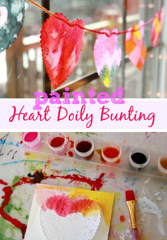A Painted Heart Doily Bunting - A fun kids' art activity that also makes a great Valentine's Day decoration!Valentine'S Day, Crafts Ideas, Fun Kids, Kid Art, Valentines Day Decorations, Doilies Buntings, Heart Doilies, Kids Art Activities, Painting Heart