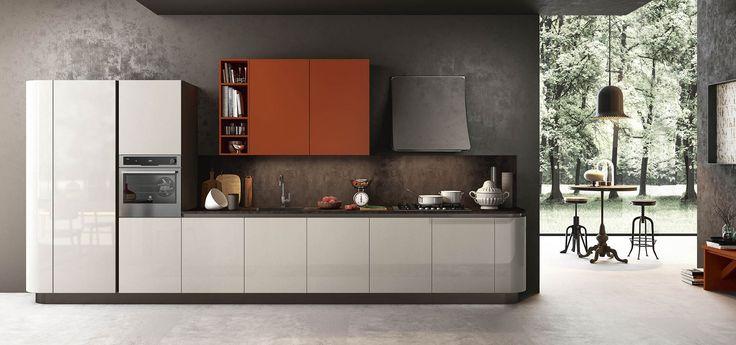 Cucina Moderna - Time Finiture: ecrù lucido, mattone opaco | Top laminato speciale 146 | Gola plana brunita | Zoccolo brunito http://www.arredo3.it/cucine-moderne/cucina-moderna-time/