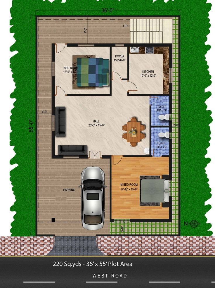 220 Sq Yds 36x55 Sq Ft West Face House 2bhk Floor Plan For