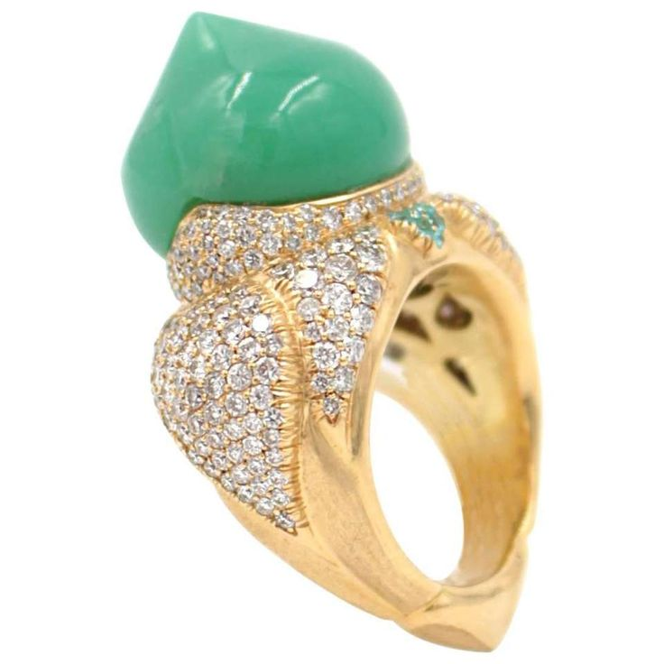 Australian Chrysophrase Paraiba Tourmaline Diamond Gold Taj Mahal Ring 1