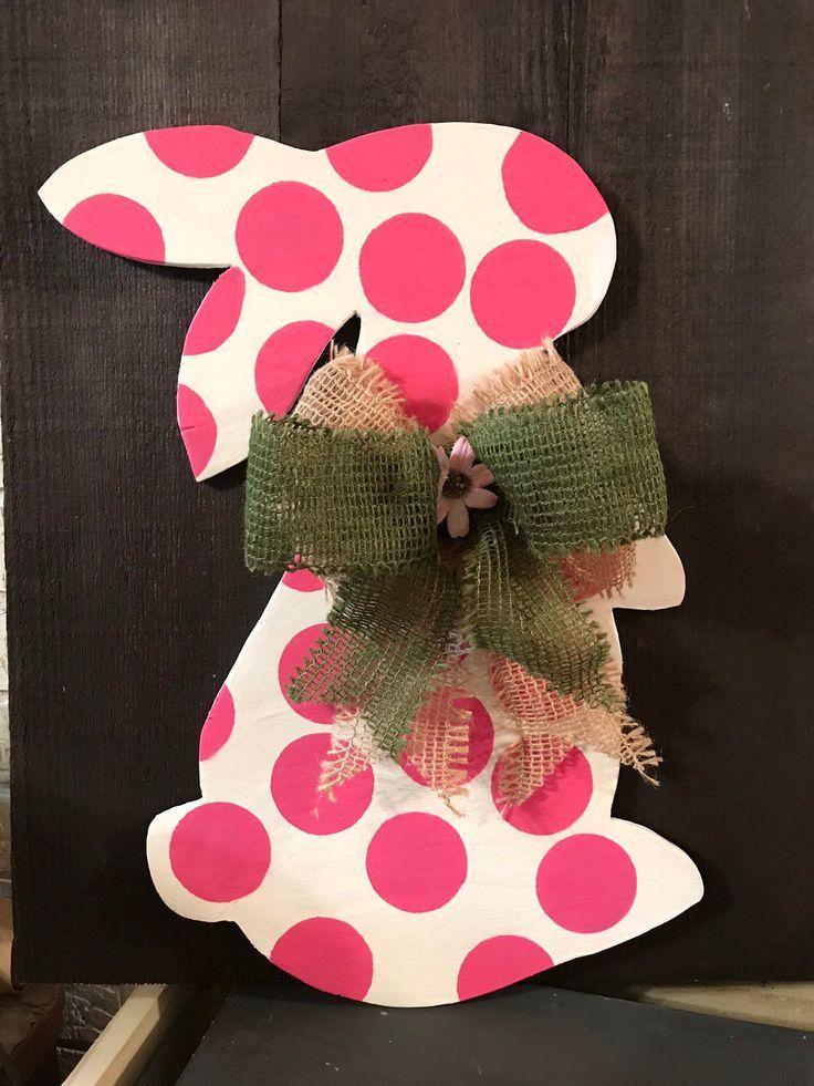 Buffalo Plaid Pink Polka Dot Easter Bunny Wreath Bow