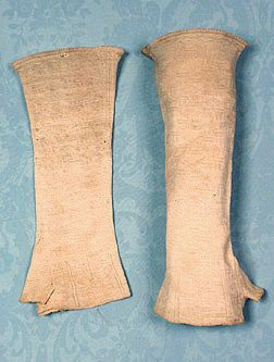 Knit Mitts   Dated 1787       United States          Materials: Unbleached flax thread.    Provenance: These came from an estate in the Saugerties, NY area along with another pair of lady's mitts, item #2433.