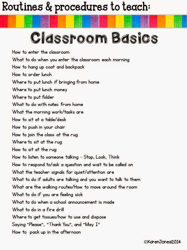 Great reminder for the beginning of the year: Routines, Routines, Routines! All in one list