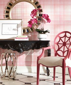 Ethan Allen Entryway We Love Pink And Black Together Note The Fun Raspberry Finish Living Room DecorationsEthan
