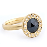 Anne Sportun - gold ring with a rose cut black diamond surrounded by white pave diamonds...be still my heart. $5,015.