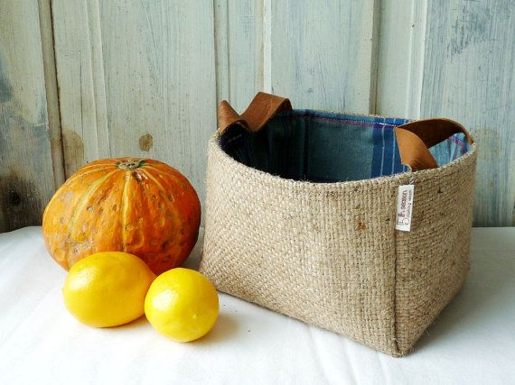 Upcycled BaBY AbBy storage basket. Coffee burlap by 5thseason, $28.00