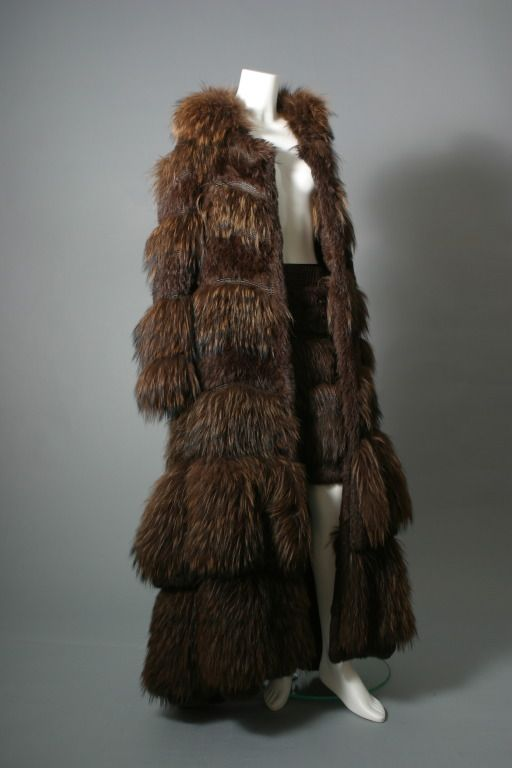 Sonya RYKIEL, Fabulous chestnut color marmot fur and knitted leather maxi coat, circa 2000