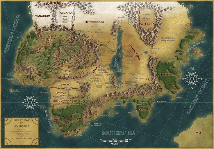 hyborian age map robert e. howard - Google Search