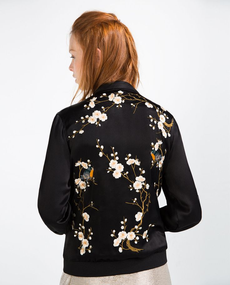 Floral embroidered bomber jacket zara pinterest