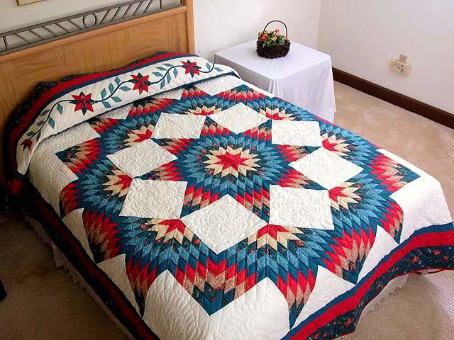 Broken Star Quilt -- terrific meticulously made Amish Quilts from Lancaster (hs1027)