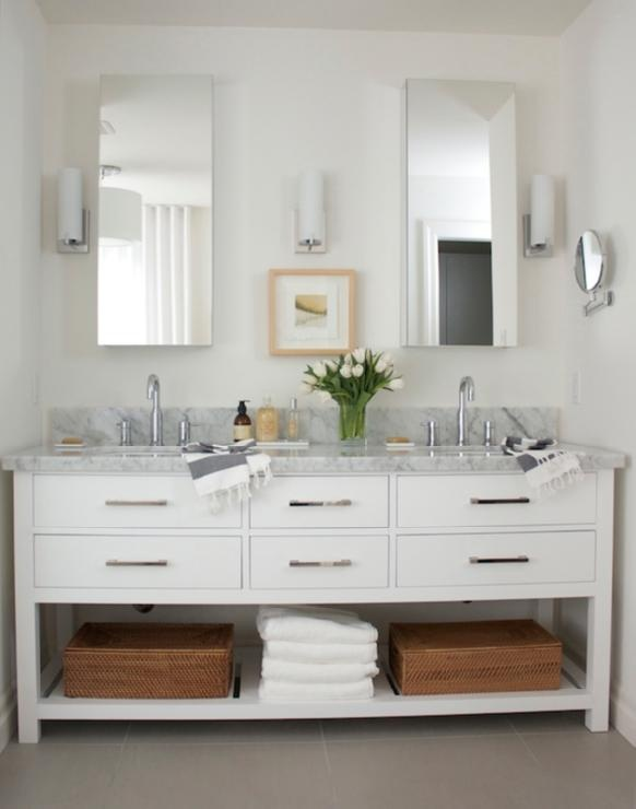 Chic  modern bathroom for two with Restoration Hardware Hutton Double  Washstand with Italian Carrara Marble Countertop  woven storage baskets. 17 Best ideas about Restoration Hardware Bathroom on Pinterest