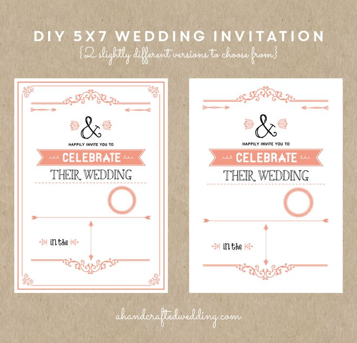 Diy rustic chic wedding invitation in coral for Diy rustic chic wedding invitations free printable template ahandcraftedwedding