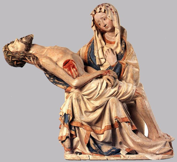 set up an altar.  15th C pieta Germany.