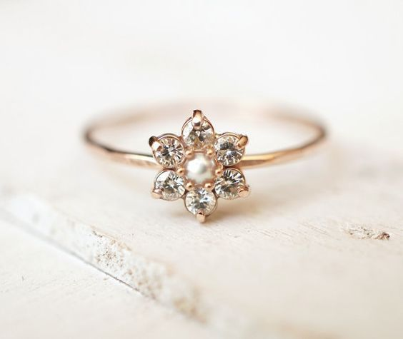 Moissanite Ring, Daisy Ring, Flower Ring, Cluster Ring, 14k Gold Ring, Engagement Ring, Delicate Stack Ring, Alternative Ring, Promise Ring