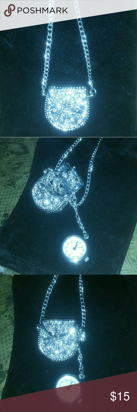 Unique vintage pocket watch pendant necklace Beautiful vintage quartz pocket watch pendant necklace. Working watch, needs new battery. Definitely a conversation piece. Beautifully detailed all the way around. Vintage Jewelry