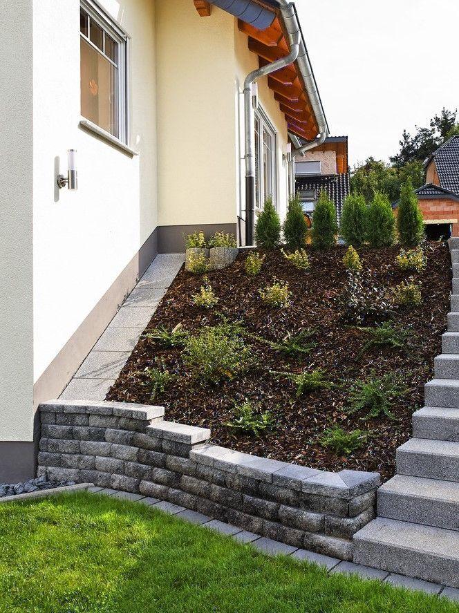A parede Windsor® como um sistema de cama em uma encosta. #rinnbeton #design #gartengestaltung   – Landschaftsbau
