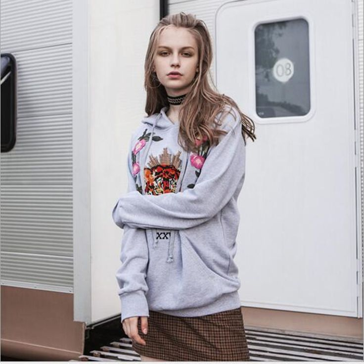 [NEW SALE] 2017 Autumn and Winter Heavy Embroidery Tiger Head Hooded Sweatshirts Lady Loose Long-sleeved Pullover #Affiliate