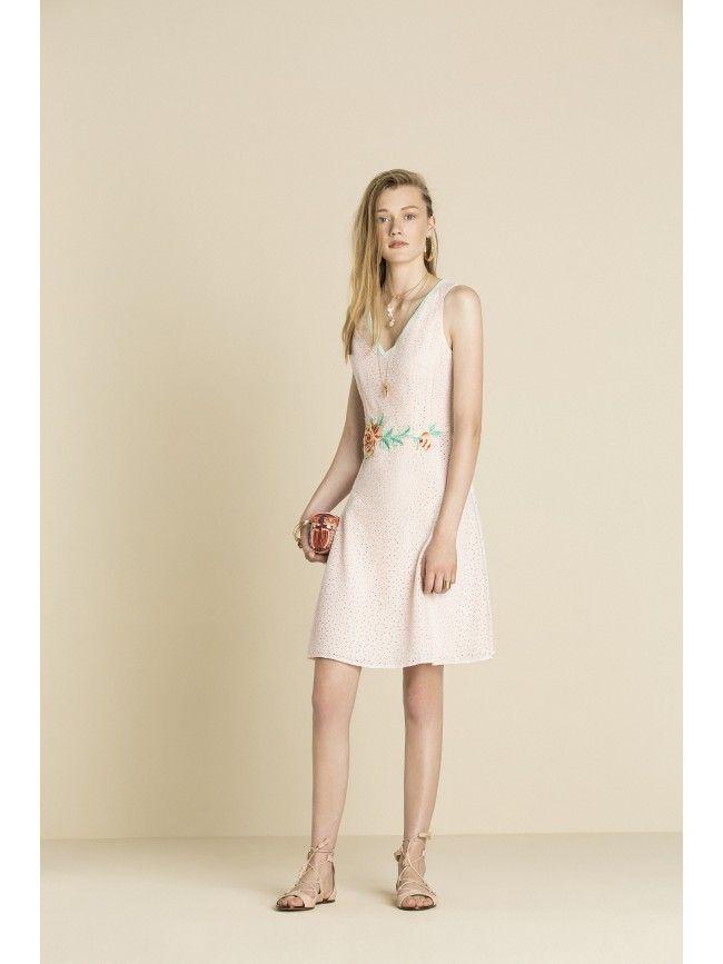 #Vestido corto tirantes con evasé en la falda y detalle de flor en cintura. Colección #OkyCoky primavera verano 2016. #Fashion #Moda #Vestidos #Dress