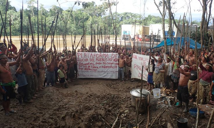 Kichwa communities bar River Tigre, an Amazon tributary, with cables to stop oil company boats from passing and accuse government of turning a blind eye to contamination from oil operations in the forest