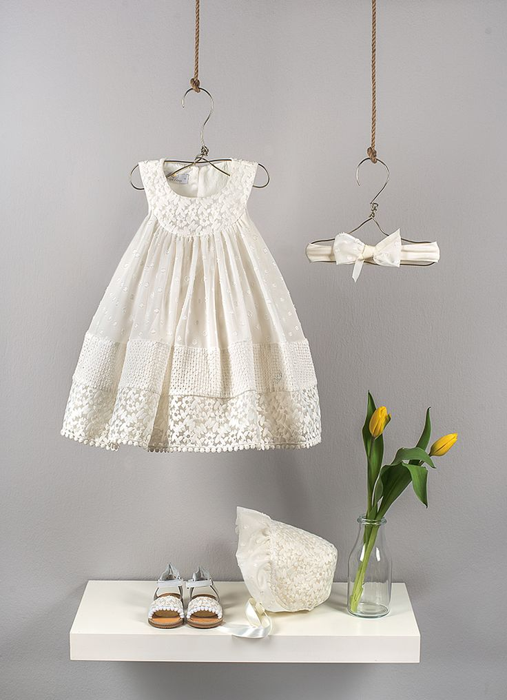 Ecru gathered dress composed by three fabrics (muslin polka dots, embroidered organza, embroidered cotton voile)   Ecru elastic band with bow in polka dot muslin and ribbon  Ecru romantic bonnet hat from organza and muslin embroidered polka dots
